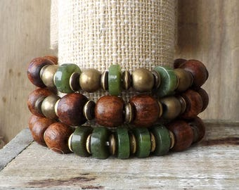 Wood Bracelets, Bracelet Set, Stretch Bracelet, Stacking Bracelets, Boho Jewelry, You Choose, Brown, Green Jade, Summer, Fall, Gift for Her