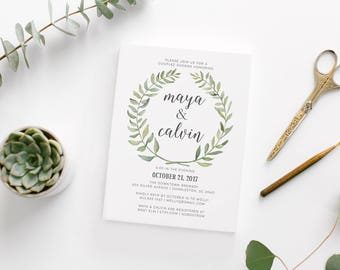 Watercolor Wreath Modern Couples Shower Invitation • Custom Printable Couples Shower Bridal Invite • Unique Botanical Invitation • DIY File