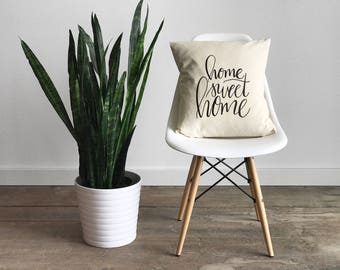 Home Sweet Home Pillow Cover •Modern Farmhouse •Calligraphy Pillow • Rustic Home Decor • Hand Lettered Throw Pillow Cover • FREE SHIPPING
