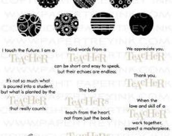Gently Used Papertrey Ink Teacher Apple stamp and die set, teacher appreciation stamp, apple dies, DESTASH