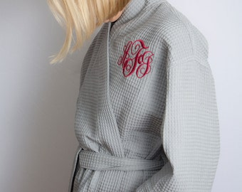 Wedding Day Robes - Monogrammed Waffle Weave Kimono in 10 Colors