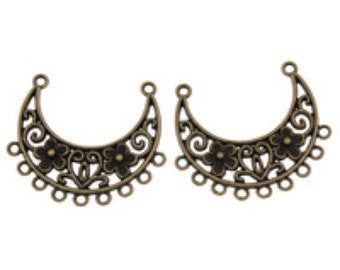 6pc 34X30mm antique bronze metal link/connectors-7227W