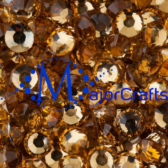 Light Brown Flat Back Round Resin Rhinestones Embellishment Gems C19