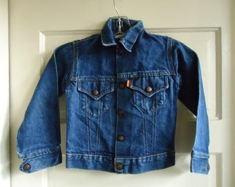 Vintage 70s Childrens LEVIS ORANGE Tab Denim Jean Jacket sz 2-4 years