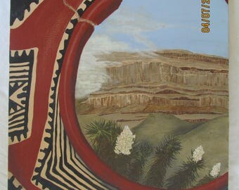 S.Palmore Southwest Art Oil Painting Native American Pottery Grand Canyon Interest Vintage