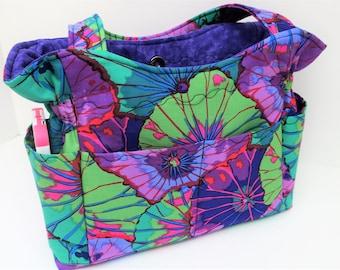 Purple Shoulder Bag Purse, Fabric Purse, Quilted Cotton Purse, Tote Bag, Gift for Mom, Washable Handbag, Summer Bag, Outside Pockets