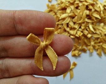 GOLD mini satin bows - Tiny Appliques - 4mm miniature 100 bows