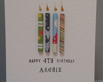 Birthday Kids Age Candle Card for ages 2,3,4,5,6,7,8,9,10,11. Can be Personalised with a name.