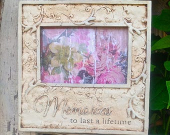 4 x 6 Picture Frame with Phrase - Sentiment Frame - MEMORIES To Last a Lifetime - Table Top Frame