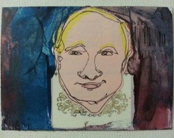 sale aceo PRESIDENT PUTIN original collage kimartist incorrect man politics pop russia vladimir purple blue pink black white sfa ows ooak