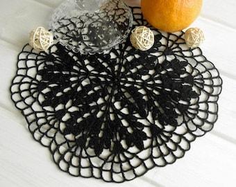 Crochet doily Black doily Cotton crochet doilies Black doilies Black crochet doily 371