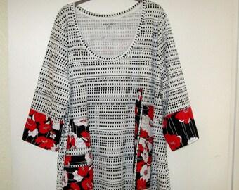 Artsy Paris Upcycled Knit Shirt Top SZ 3X 4X