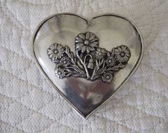 Vintage French Heart Shaped Trinket box. Polished Pewter. Embossed Flowers. Gift Box.