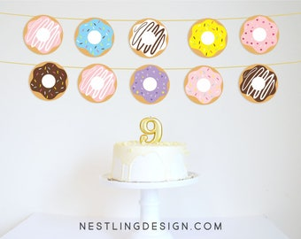 Donut Garland | Donut Banner | Donut Party Decorations | Printable Decorations | Breakfast Party | Slumber Party | Sprinkles Birthday Party