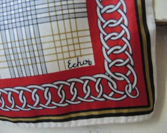 Vintage 1970s Echo silk scarf plaid 23 x 23 inches