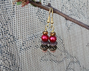 Bronze Metal and Red Pearl Dangle Earrings