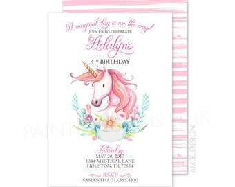 Unicorn Watercolor Party Invitation | Printable OR Professionally Printed | 5x7 | Magical