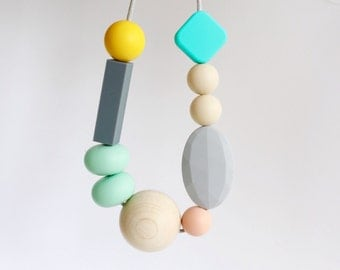 Teething Chew Necklace, BPAfree chewable silicone beads with natural round wooden bead, Chewlery necklace by Mustard & Mint.