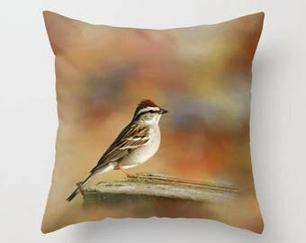 Sparrow, Birds, Throw Pillow, Decorative Pillow, Bird Pillow, Nature, Ornithology, Home Decor, Photography, Photo Throw Pillow