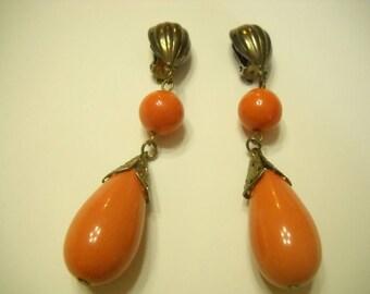"Vintage 3"" Long Dangle Clip Earrings (9456) Orange Plastic"