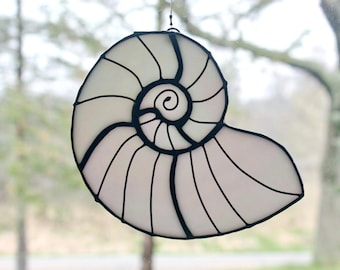 Stained Glass Sea Shell, White Iridescent, Beach Decor, Glass Art, Gifts for Her