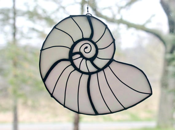 Stained Glass Sea Shell, White Iridescent