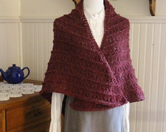 Hand Knit Rustic Maroon Wool Shawl Ready to Ship