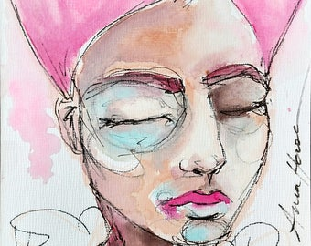 Pink Hair- 5x7in Original Watercolor & Ink Portrait, Art board