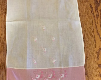 Vintage Embroidered Pink and WhiteTea Towel Pink with Daisies