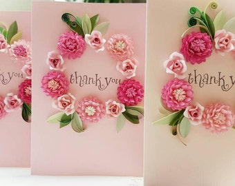 Paper Quilling beautiful Dahlia Yellow or pink flower thank you. .wreath card