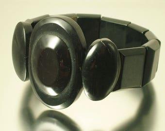 Antique/ estate Victorian, 1800s black mourning/ black, Whitby jet expandable bangle bracelet - jewellery jewelry