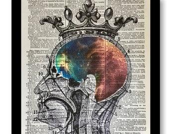 Anatomical Brain, Anatomical, Anatomical Artwork, Anatomical Prints, Nebula Prints, Nebulas, Pop Art, Anatomical Prints, Nebula Art, 8x10