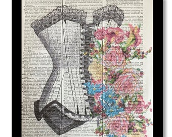 Corset Prints, Vintage Corset Art, Womens Corset, Floral Prints, Vintage Dictionary Print, Vintage Prints, Dictionary Art, Womens Dress