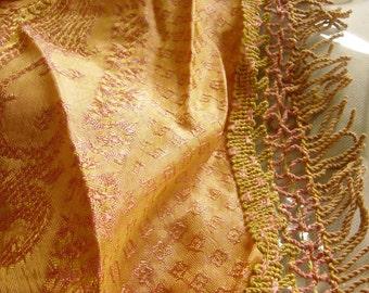 Vintage 1930's -1940's Hollywood Style Silk Double Bed Gold & Pink Bedspread Huge Fringe