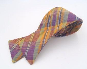 Vintage 1980s Orange and Purple Plaid Adjustable Cotton Bow Tie