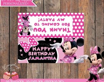 "Minnie Mouse Pink Happy 6.5"" x 2.5"" Birthday Treat Bag Toppers"