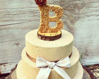 Wooden Letter Wedding Cake Topper - Rustic Cake Topper - Fall Wedding Cake Topper - Wedding Cake Topper