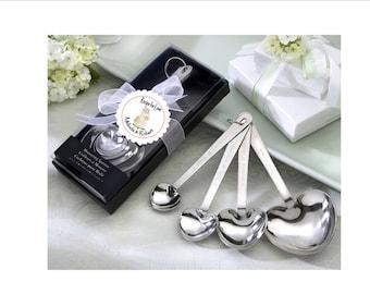 Bridal shower measuring spoon favors - recipe for love, watercolor floral, wedding cake theme bridal shower favor - set of 10