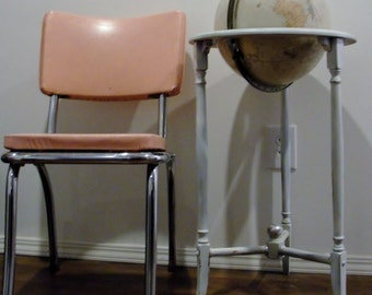 1950s Padded Pink and Chrome Kitchen Table Chair