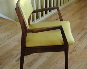 Mid Century Modern Padded Armchair Walnut Wood MCM designer chair