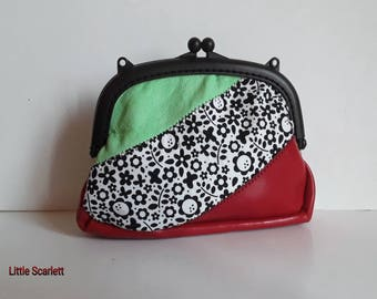 Large retro red and green leather clasp purse + tissue flowers