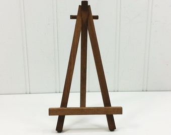Rustic Brown 6.5 inch Easel,  Hand Stained Walnut Tone Tabletop Wood Easel for Miniature Art and Table Signs