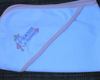 """Embroidered """"Princess in Training"""" Infant Hooded Towel"""