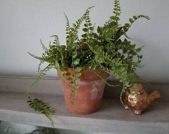 Vintage Clay Pot Home w/ faux fern Home Decor