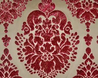 TAPESTRIA ROYALTY MEDALLIONS Silk Cut Velvet Fabric 10 Yards Ruby Gold Cream
