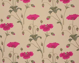 DESIGNER NOUVEAU POPPY Woven Jacquard Fabric 10 Yards Cerise Cream