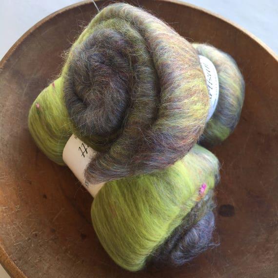 Gladiolas, Artisan Batt, spinning fiber, 2oz