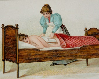 1890 Antique bizarre print of ANCIENT MEDICAL TREATMENTS.  Medicine. Nude Woman. 127 years old lithograph.