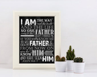Scripture Art - John 14:6-7 ~ Chalkboard Style