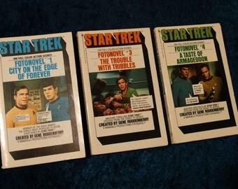Lot of 3 Vintage 1978 Star Trek FotoNovel Pocket Books TOS Spock Kirk Nimoy Shatner Taste of Armageddon Tribbles  Edge of Forever 1 3 4